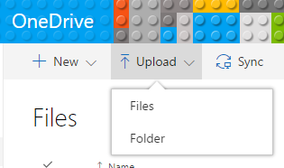 image of ONeDrive upload menu