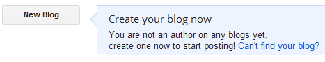 image of the Blogger create blog button