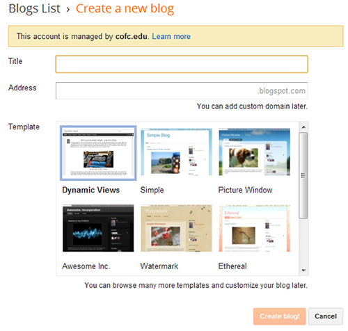 image of Blogger title, address, and theme prompt